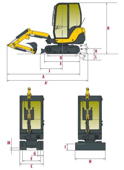 Yanmar SV18 Dimensionen